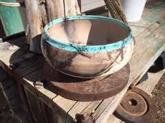 Horse Hair Turquoise Rimmed Bowl
