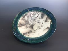 Teal rimmed bowl with copper inlay