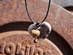 Horse Hair Heart Pendant with Copper and Ivory with Silver Inlay Bead