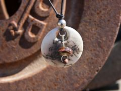 Horse Hair Round Pendant with Dark Copper and Silver Inlay Bead