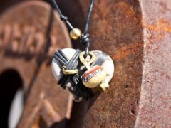 Cross My Heart with Cream and Copper Bead with Silver Inlay