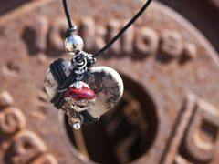 Cross My Heart Horse Hair Pendant - Ruby Red and Cream Bead with Silver Inlay