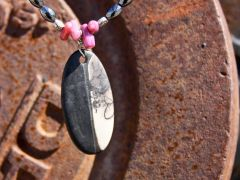 Horse Hair Oval Pendant with Pink Accents and Black Hematite