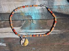 Horse Hair Round Pendant with Red, Orange, Silver and Turquoise Beads