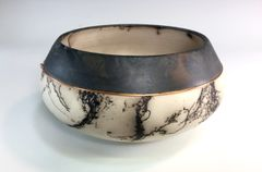 Black Ice Horse Hair Fired Bowl with Copper Accent