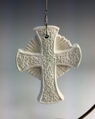 Textured Cross Ornament with Circle