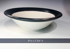 Black rimmed bowl.