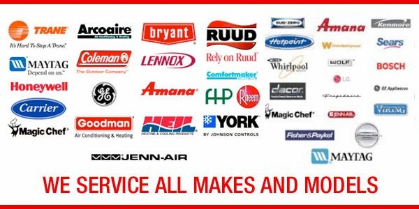 American Standard, Lennox, Trane, Carrier, Goodman, Bryant, Amana, Heil, Ruud, York Air Conditioners