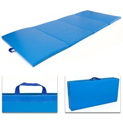 "Folding Floor Exercise Mat 4' x 8' x 2"" Blue"