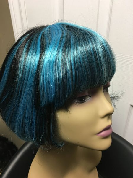April Black With Light Blue Highlights