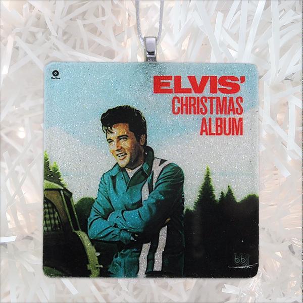 Elvis Christmas Album.Elvis Christmas Album Cover Glass Ornament