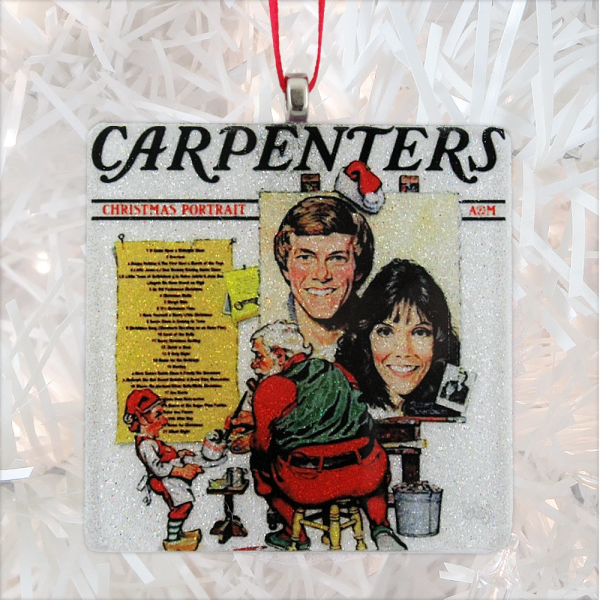 Carpenters Christmas Portrait.Carpenters Christmas Portrait Album Cover Glass Ornament
