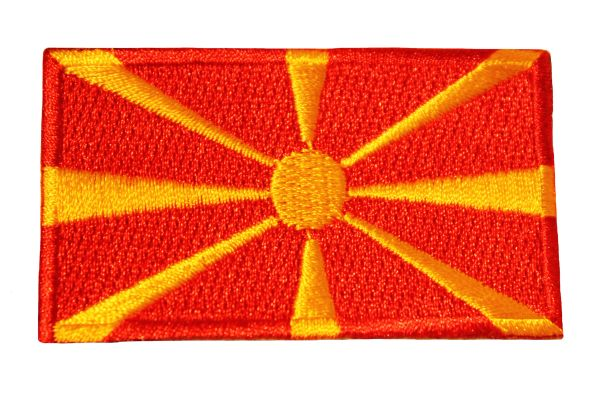 NORTH MACEDONIA Country Flag Iron - On PATCH CREST BADGE