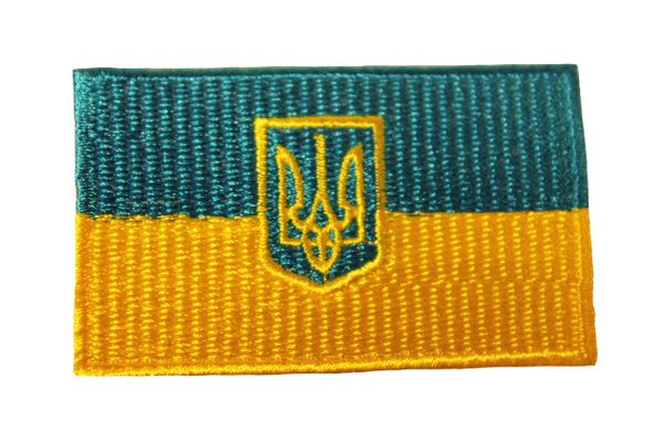 UKRAINE With TRIDENT Country Flag Iron - On PATCH CREST BADGE