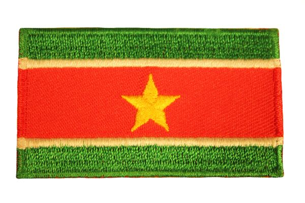 SURINAME NATIONAL COUNTRY FLAG IRON ON PATCH CREST BADGE .. 1.5 X 2.5 INCHES .. NEW