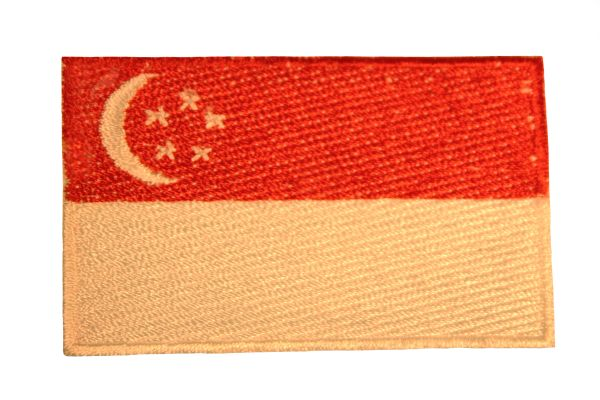SINGAPORE NATIONAL COUNTRY FLAG IRON ON PATCH CREST BADGE .. 1.5 X 2.5 INCHES .. NEW