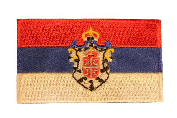 SERBIA SRBIJA NATIONAL COUNTRY FLAG IRON ON PATCH CREST BADGE .. 1.5 X 2.5 INCHES .. NEW