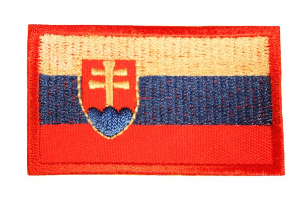 SLOVAKIA NATIONAL COUNTRY FLAG IRON ON PATCH CREST BADGE .. 1.5 X 2.5 INCHES .. NEW
