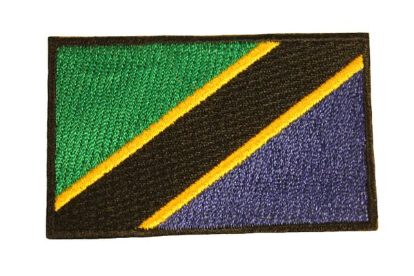 TANZANIA NATIONAL COUNTRY FLAG IRON ON PATCH CREST BADGE .. 1.5 X 2.5 INCHES .. NEW