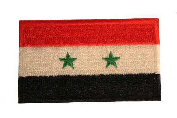 SYRIA NATIONAL COUNTRY FLAG IRON ON PATCH CREST BADGE .. 1.5 X 2.5 INCHES .. NEW