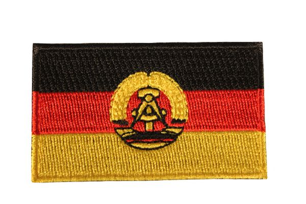GERMANY OLD EAST DEUTSCHLAND FLAG IRON ON PATCH CREST BADGE .. 1.5 X 2.5 INCHES . NEW