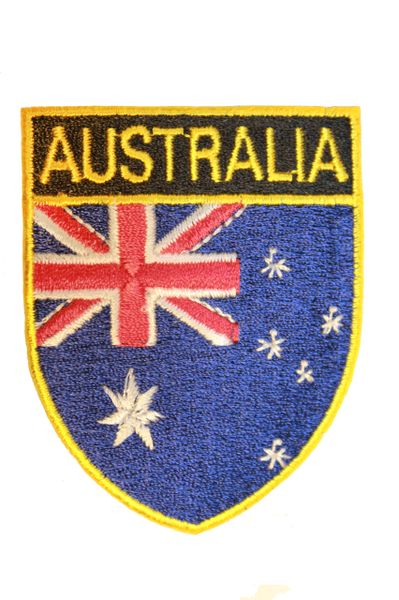 AUSTRALIA Country Flag Oval Shield Shape Iron On PATCH CREST BADGE