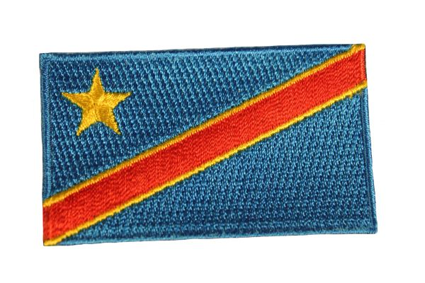 """CONGO DEMOCRATIC REPUBLIC COUNTRY FLAG Iron - On PATCH CREST BADGE .. Size : 1.5"""" X 2.5"""" Inch."""