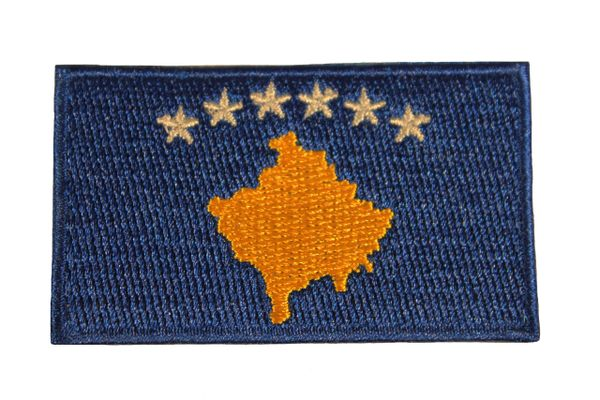 """KOSOVO COUNTRY FLAG Iron - On PATCH CREST BADGE .. Size : 1.5"""" X 2.5"""" Inch"""