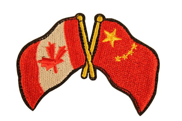 """CANADA & CHINA Waving COUNTRY FLAGS Iron - On PATCH CREST BADGE .. Size : 2.6"""" X 2"""" Inch"""