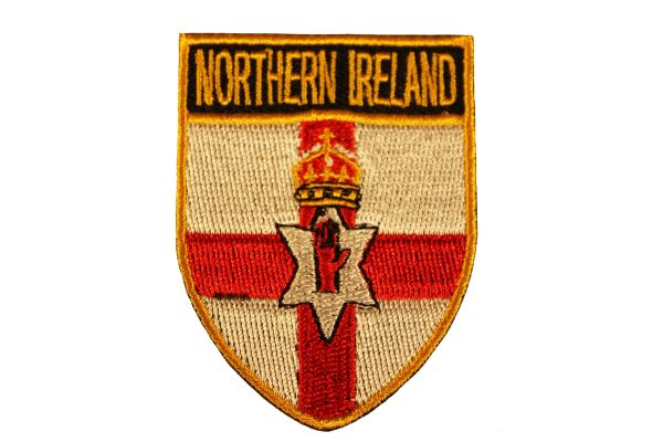 """NORTHERN IRELAND Shield Shape With Gold Trim COUNTRY FLAG Logo Iron - On PATCH CREST BADGE .. Size : 1.9"""" X 2.5"""" Inch"""