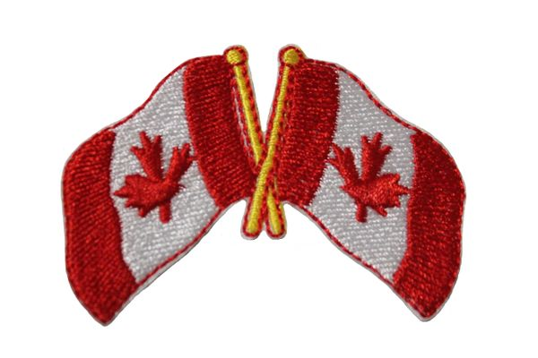 "CANADA Country Waving FLAGS Iron - On PATCH CREST BADGE .. Size : 2.6"" X 2"" Inch."