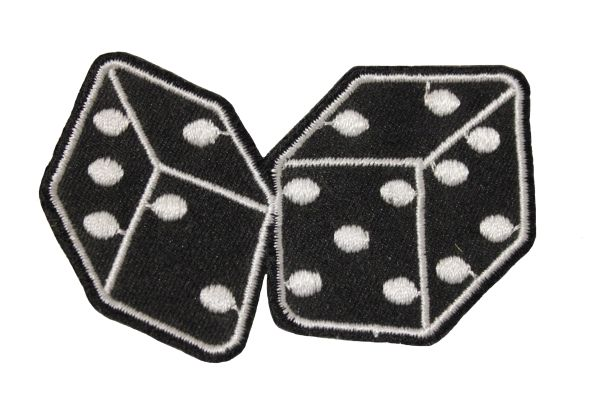 """Pair Of DICE Iron - On PATCH CREST BADGE .. Size : 2.75"""" X 1.75"""" Inch"""