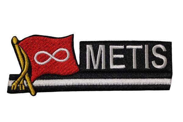 "METIS RED Sidekick Word Native Flag Embroidered Iron - On PATCH CREST BADGE ..Size : 1.5"" x 4.5"" Inch"