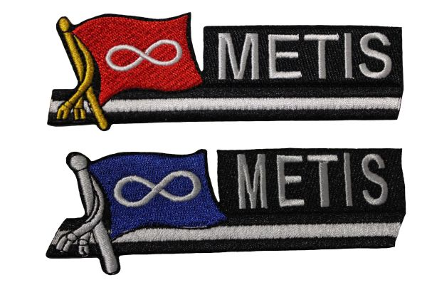 """METIS Set : RED & BLUE Sidekick Word Native Flag Embroidered Iron - On PATCH CREST BADGE ..Size : 1.5"""" x 4.5"""" Inch"""