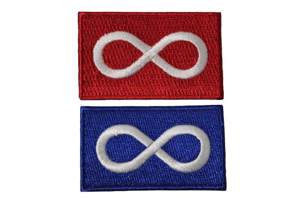 """METIS Set : RED & BLUE Native Flag Embroidered Iron - On PATCH CREST BADGE ..Size : 1.5"""" x 2.5"""" Inch"""