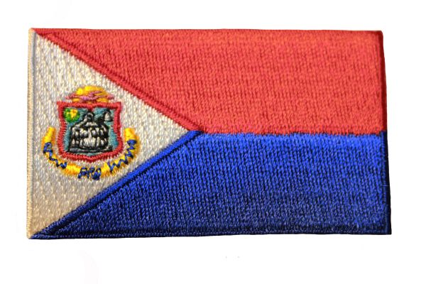 """SINT MAARTEN Country Flag Iron - On PATCH CREST BADGE .. Size : 1.5"""" X 2.5"""" Inch.. SAINT MARTIN"""