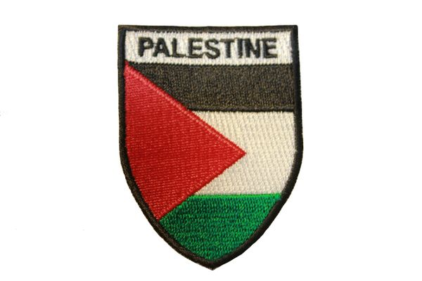 """PALESTINE Country Flag SHIELD Shape Iron - On PATCH CREST BADGE .. Size : 2"""" X 2.5"""" Inch"""