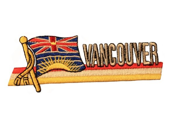 VANCOUVER Sidekick Word CANADA Provincial Flag Embroidered Iron - On PATCH CREST BADGE