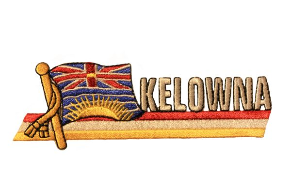 KELOWNA Sidekick Word CANADA Provincial Flag Embroidered Iron - On PATCH CREST BADGE