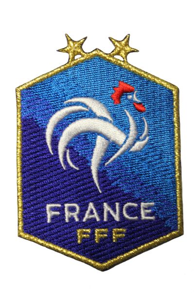 FRANCE 2 Stars , FFF Logo GOLD Trim Embroidered Iron - On PATCH CREST BADGE