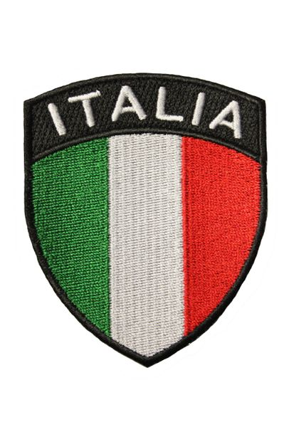 ITALIA ITALY Country Flag Logo SHIELD Shape Embroidered Iron - On PATCH CREST BADGE