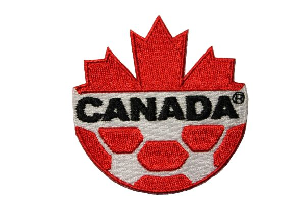 CANADA Red MAPLE LEAF Soccer Ball Embroidered Iron - On PATCH CREST BADGE