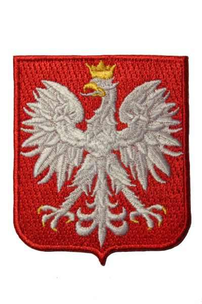 POLAND EAGLE Red SHIELD Shape Embroidered Iron - On PATCH CREST BADGE