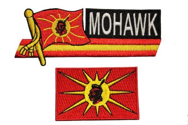MOHAWK OKA Native Flag Set Of 2 Sidekick Word & Rectangle Embroidered Iron - On PATCH CREST BADGES