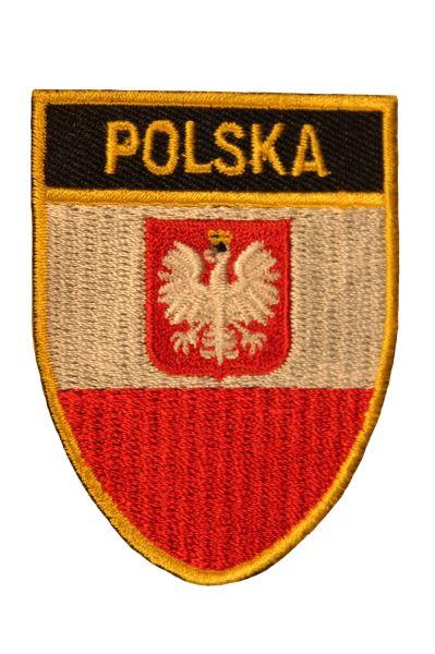 POLSKA POLAND Country Flag Logo With EAGLE Shield Shape , Gold Trim Embroidered Iron - On PATCH CREST BADGE