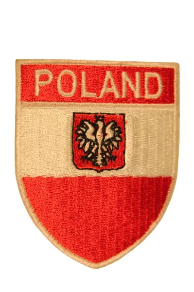 POLAND Country Flag Logo With EAGLE Shield Shape , White Trim Embroidered Iron - On PATCH CREST BADGE