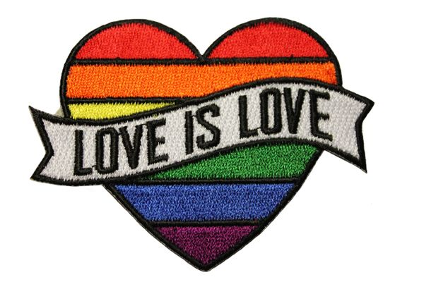 LOVE IS LOVE LGBTQ Gay & Lesbian Rainbow Pride HEART Shape Embroidered Iron - On PATCH CREST BADGE