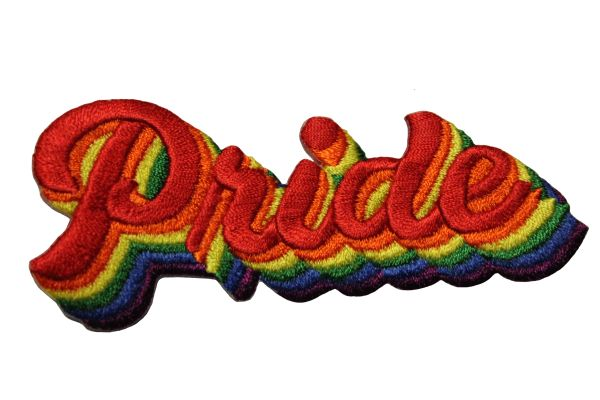 PRIDE - Word LGBTQ Gay & Lesbian RAINBOW Flag Embroidered Iron - On PATCH CREST BADGE