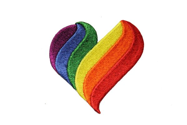 HEART Shape LGBTQ Gay & Lesbian Pride SMALL Embroidered Iron - On PATCH CREST BADGE