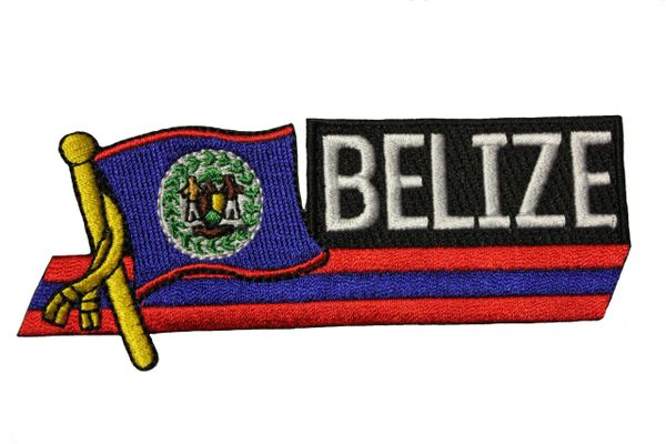 BELIZE SIDEKICK WORD COUNTRY FLAG IRON ON PATCH CREST BADGE